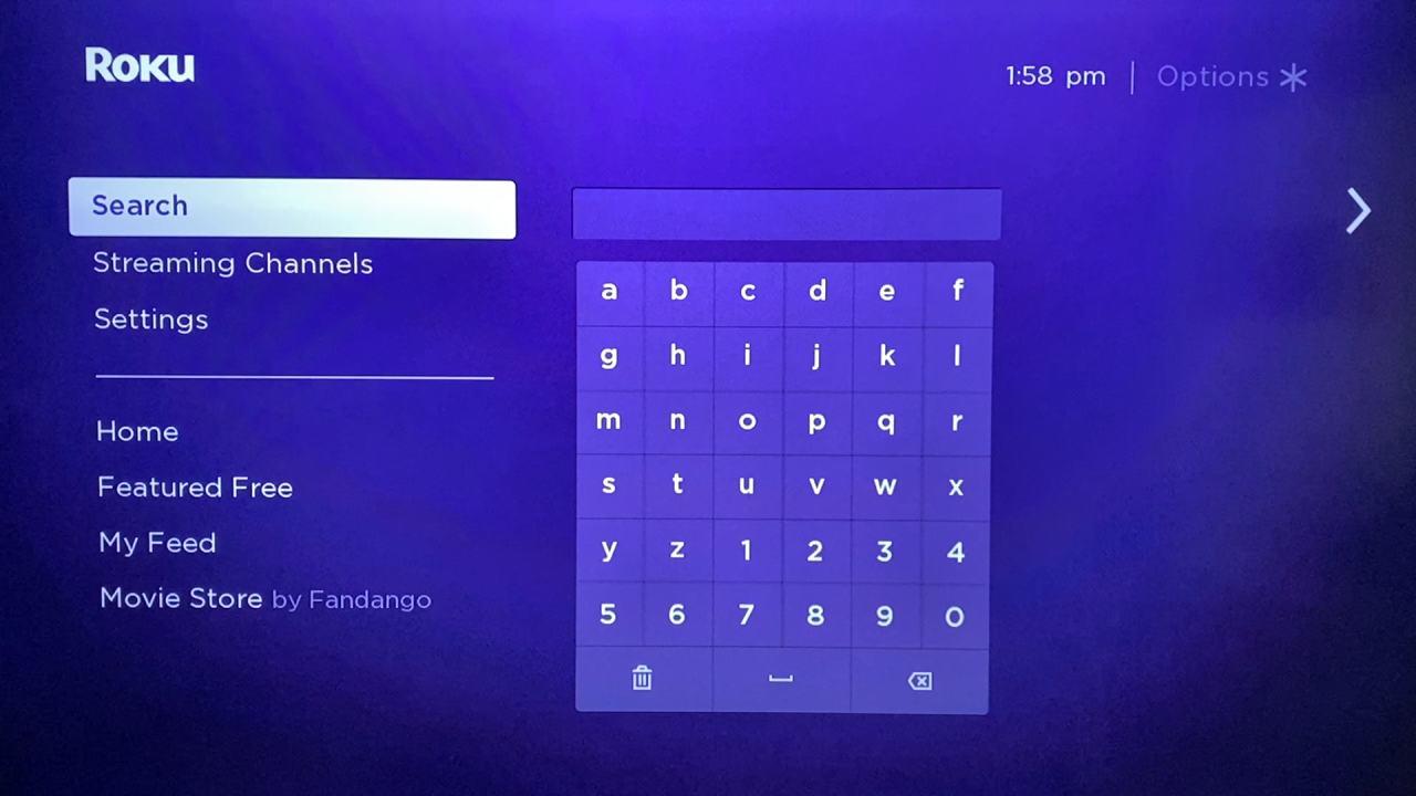 Search in Roku
