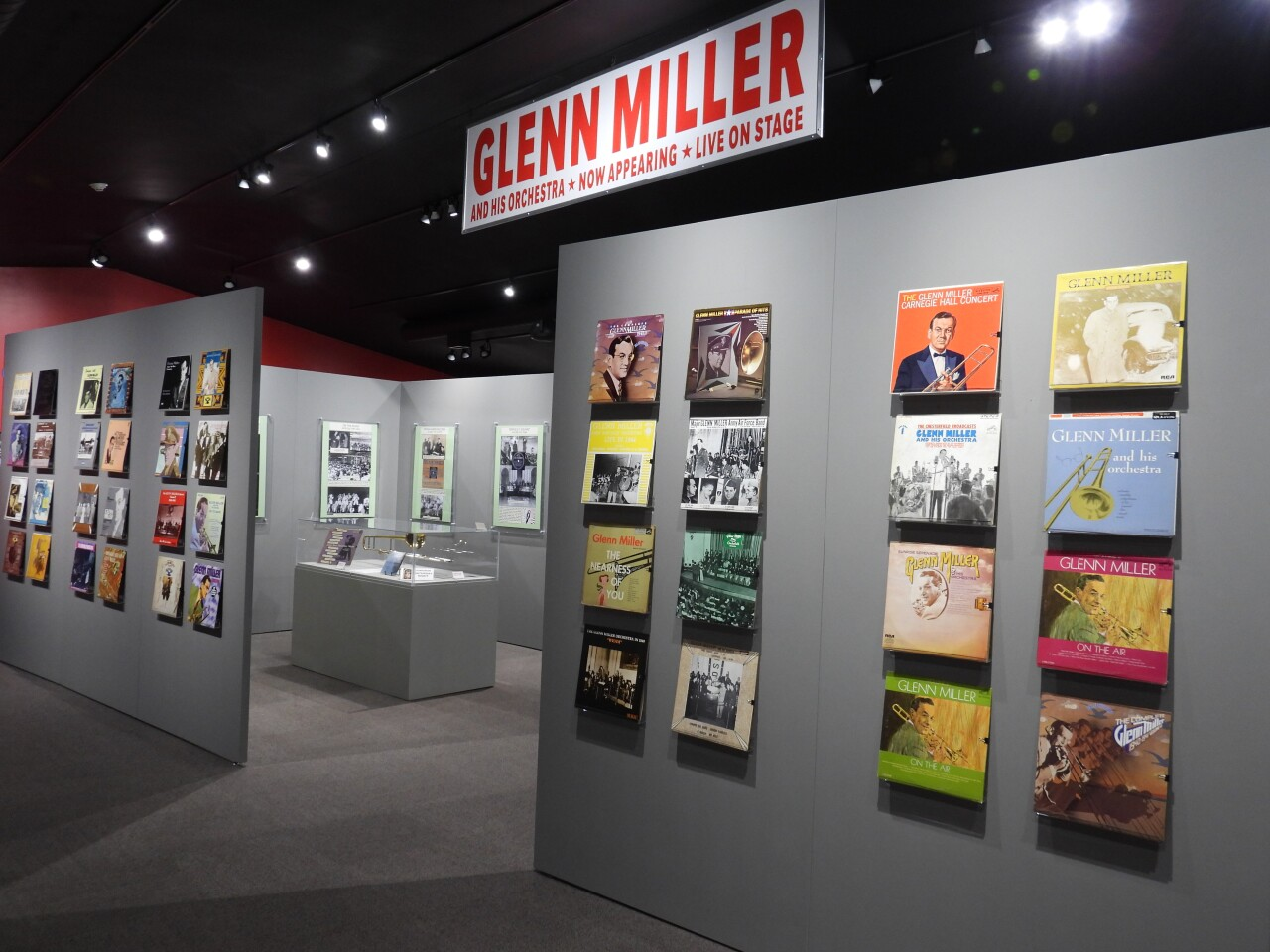 Glenn Miller albums on display the Miller Museum