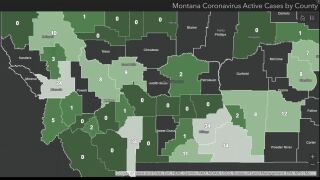 Active COVID cases in Montana as of June 26