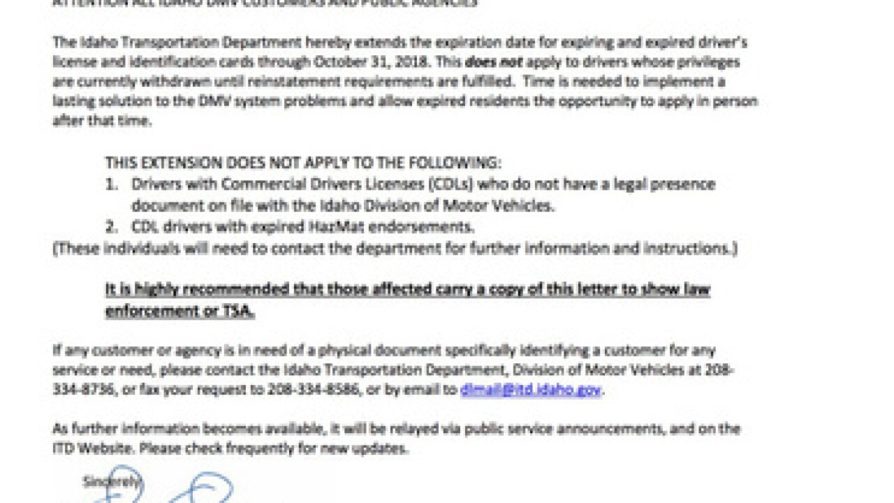 "Idaho DMV provides ""emergency extension"""