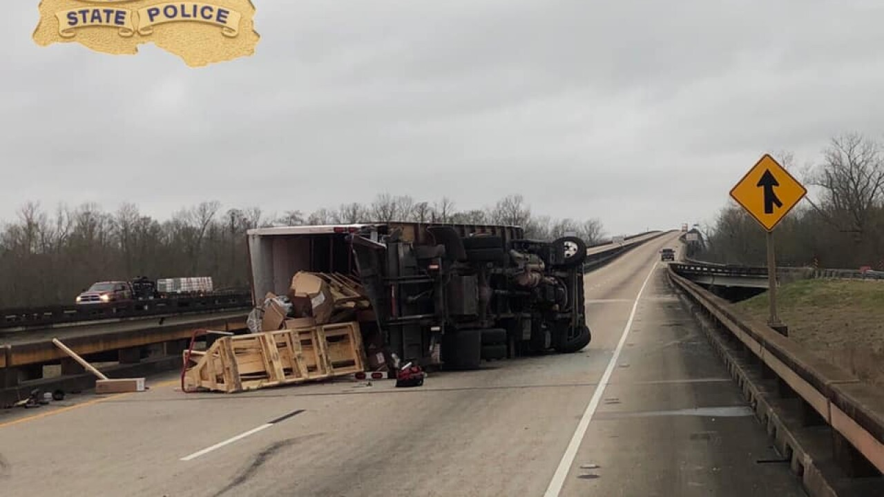 18-wheeler overturns Whiskey Bay.jpg