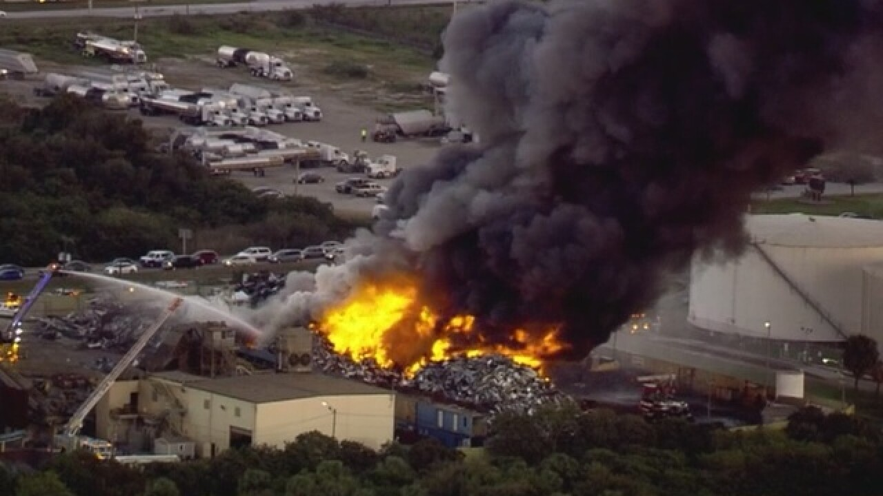 LIVE   Large fire burning near Port of Tampa