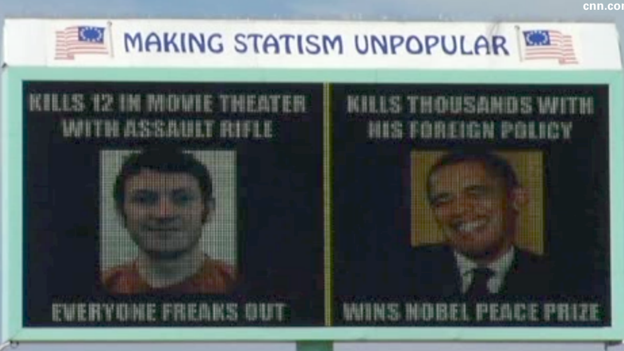 Billboard compares Obama to Colo. shooting suspect