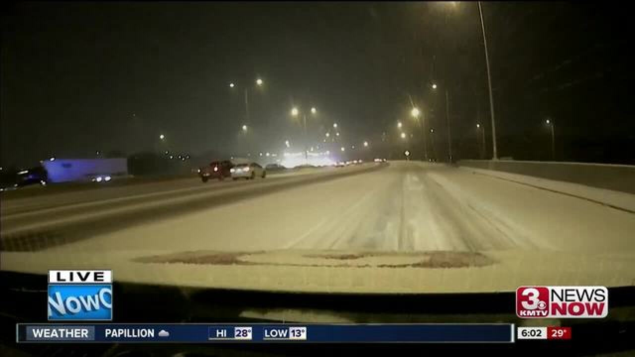 First snow causes problems across Omaha