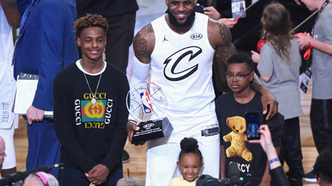 Bronny James dunks for the first time (no big deal — except, pretty big deal)