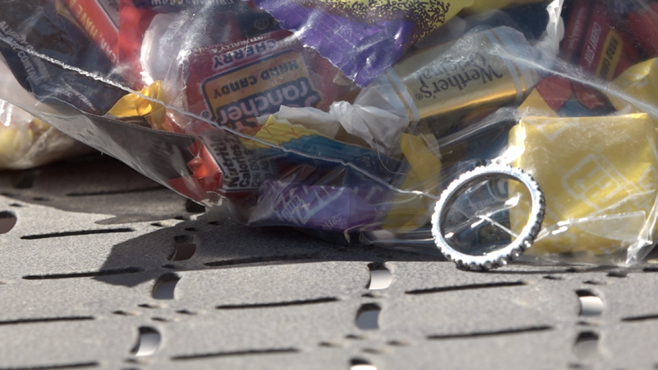 Trick-or-treater makes starting discovery in her candy bucket