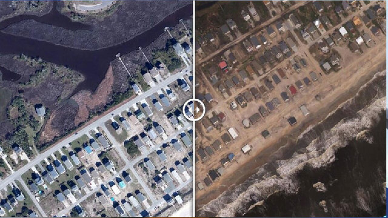 Before-and-after aerial photos show destruction, beach erosion on North Carolina coastline