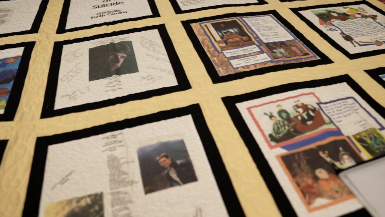 At Mental Health America, in Greenville, South Carolina, inside executive director Jennifer Piver's office, there is a quilt. Each life depicted on it has been lost to suicide.