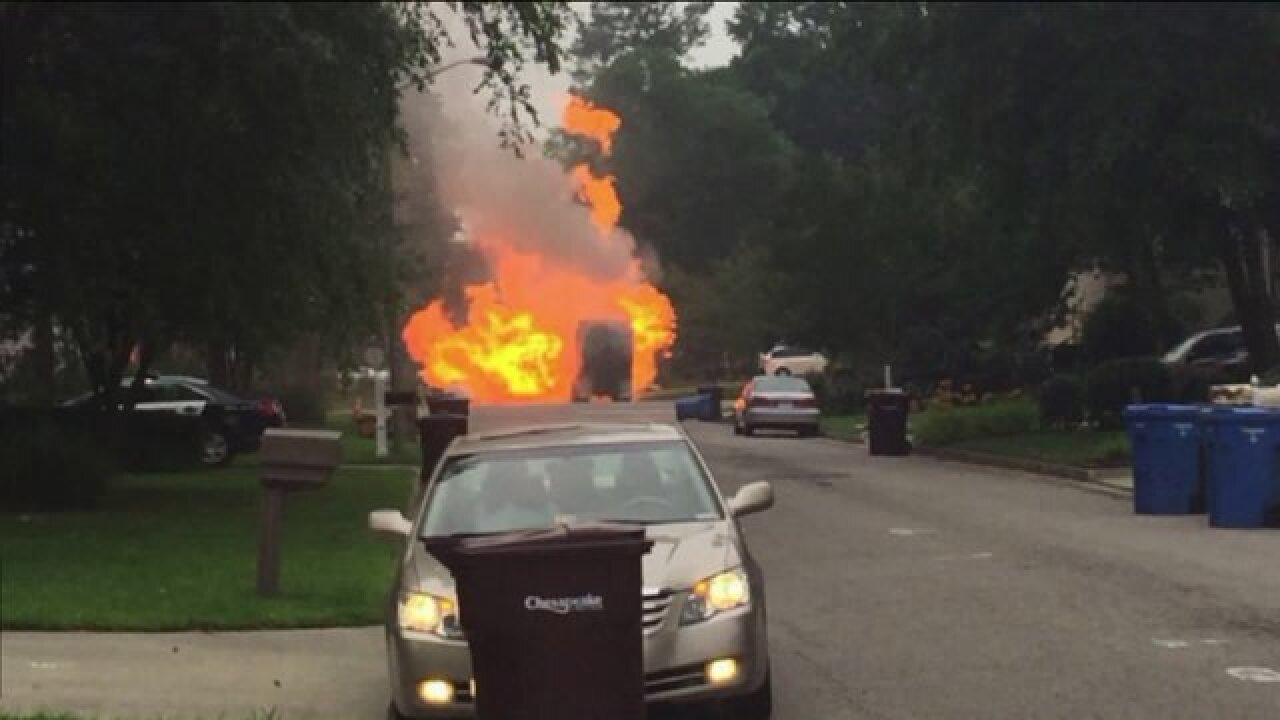 Recycling truck catches fire in Chesapeake neighborhood