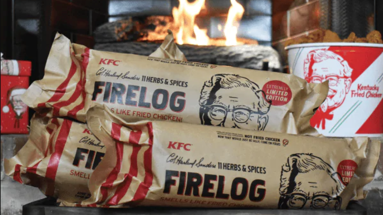 KFC ® Limited Edition 11 Herbs /& Spices Firelog by Enviro-Log ® IN HAND