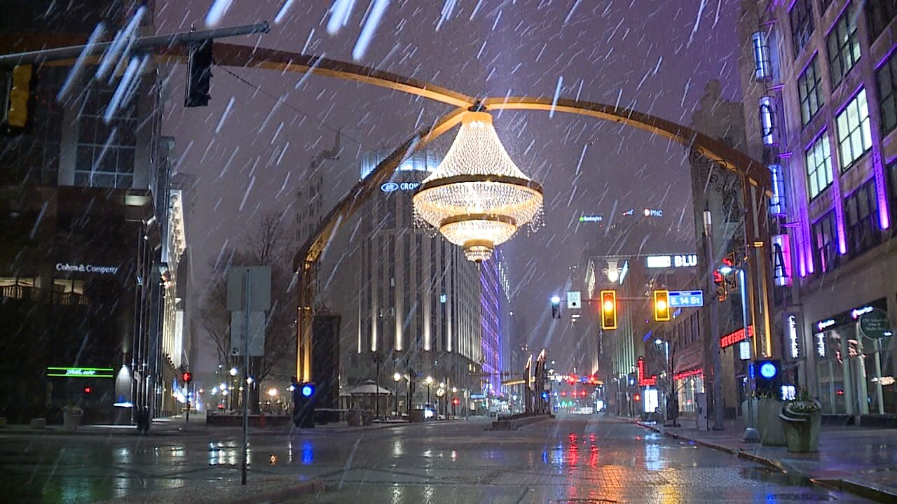 April snow showers at Playhouse Square.
