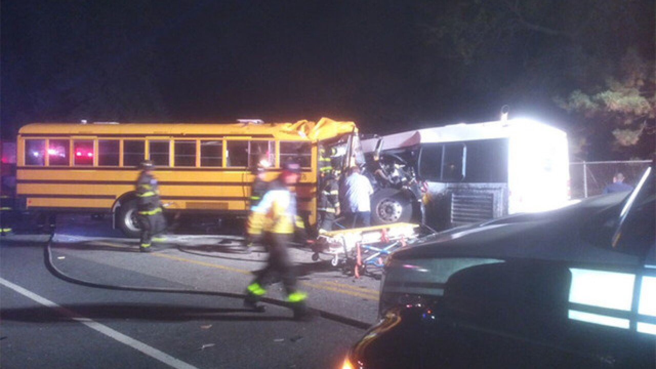 School bus, commuter bus crash in Baltimore