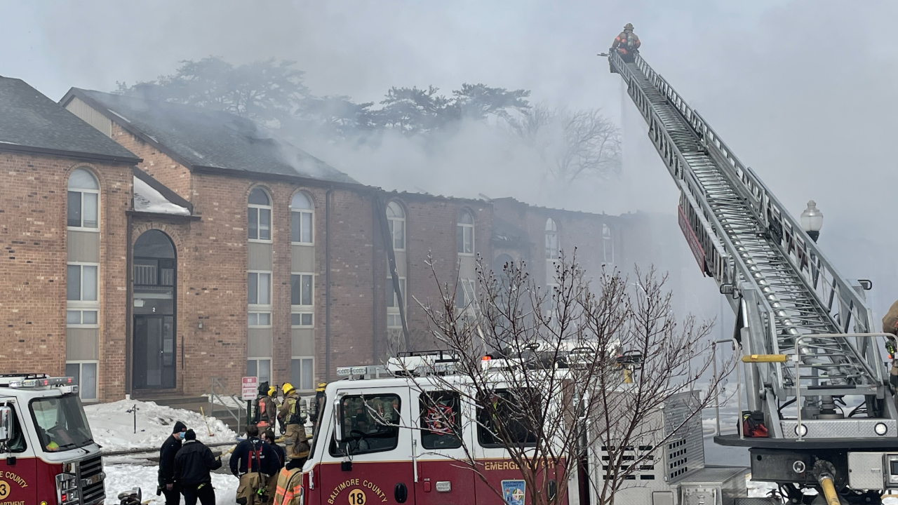 Crews battle three alarm fire at apartment complex in Windsor Mill