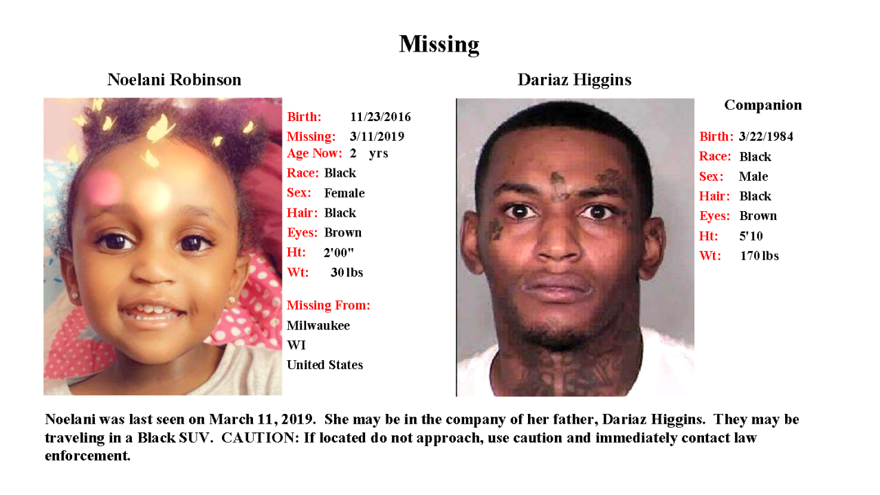 Amber Alert, Noelani Robinson: Toddler still missing from Milwaukee