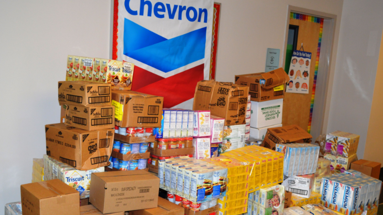 Chevron food pantry donation.PNG