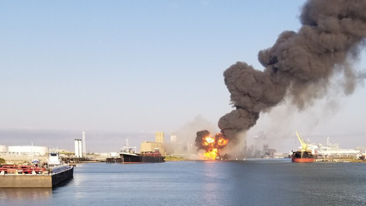 Coast Guard crews respond to dredge fire in the Port of Corpus Christi Ship Channel,
