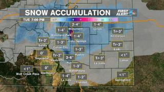 Snowfall Forecast for Monday night & Tuesday