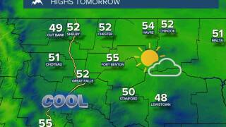Decreasing Clouds and Cooler Temperatures on Tuesday