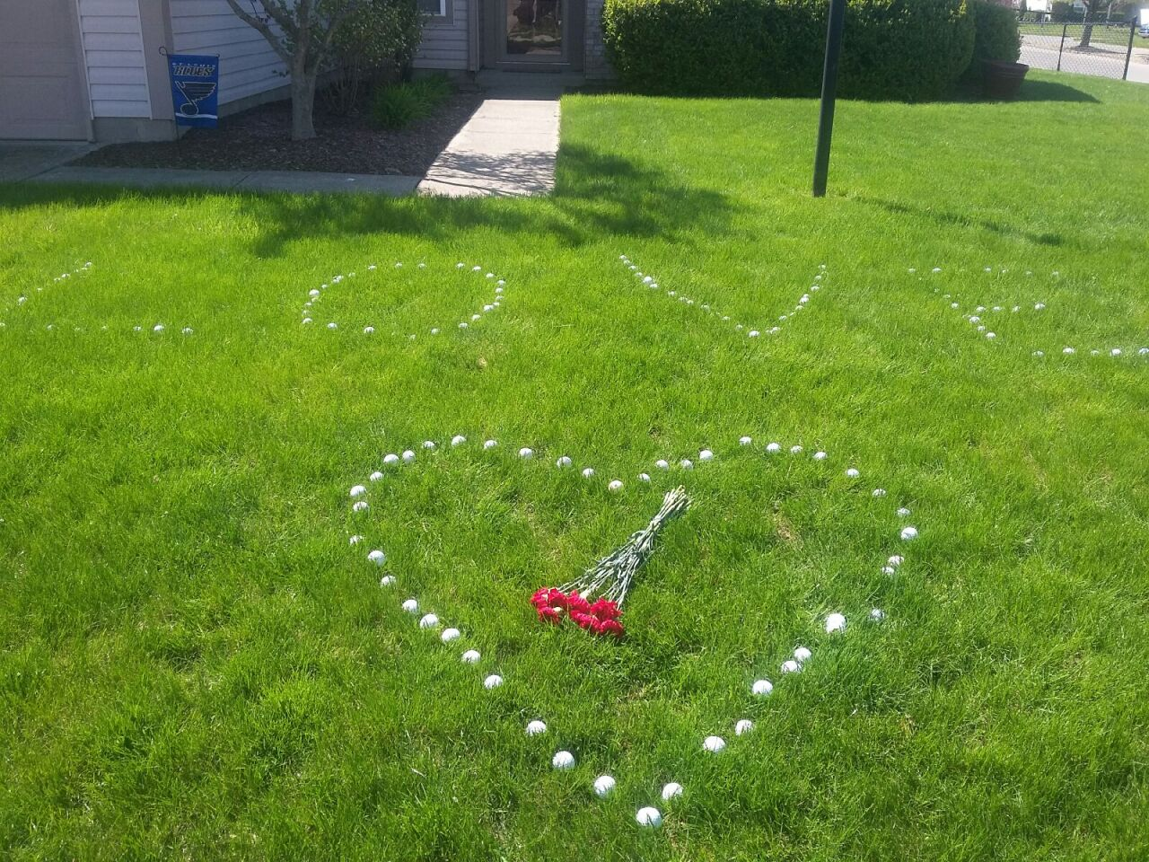 On Sunday, the Alexander family went to Matt's house and found this on his front lawn. Someone earlier came out and spelled the word 'love' with a heart and put a bouquet of red carnations in the center of the heart.   CREDIT: Alexander Family