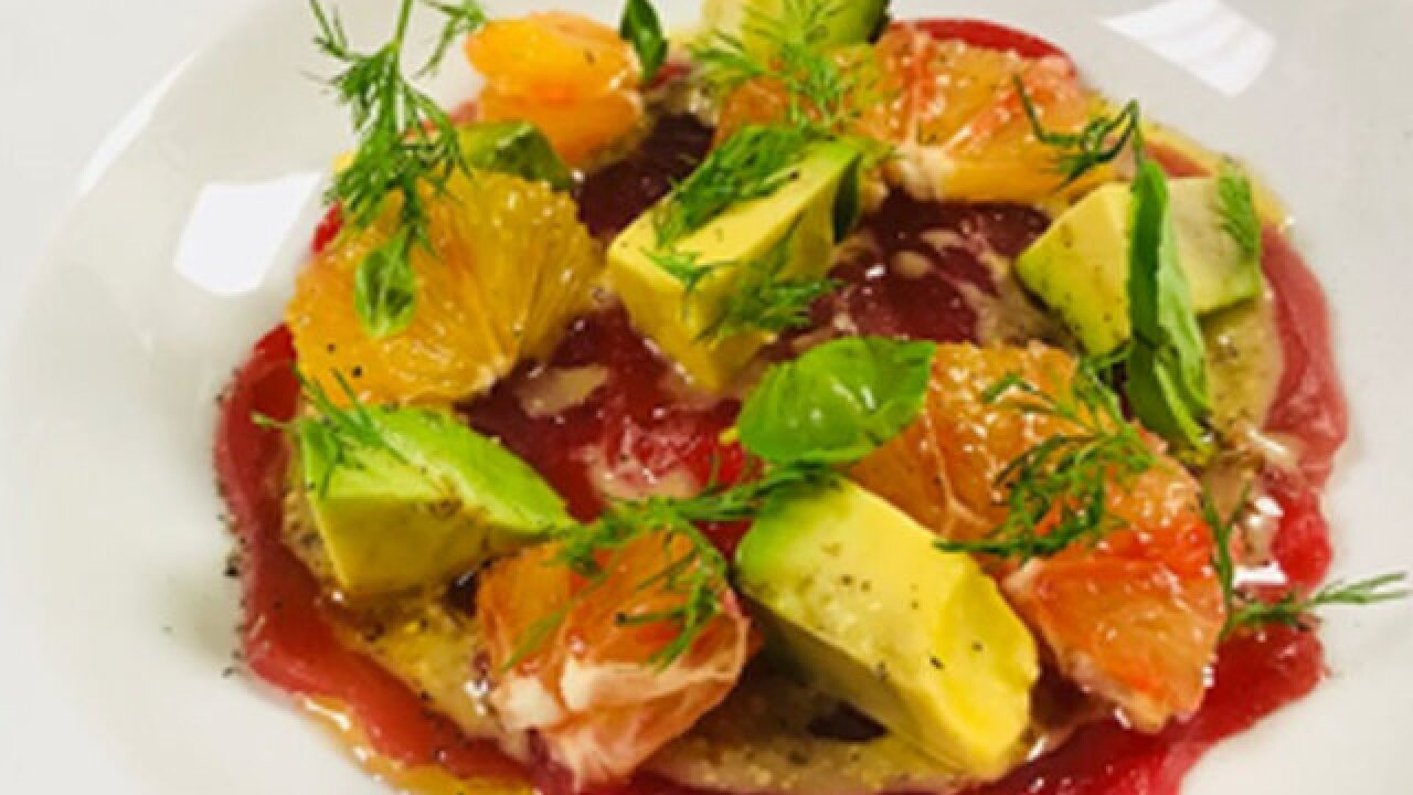 Tuna Crudo with Tequila Dressing and Blood Orange recipe (1/12/18)