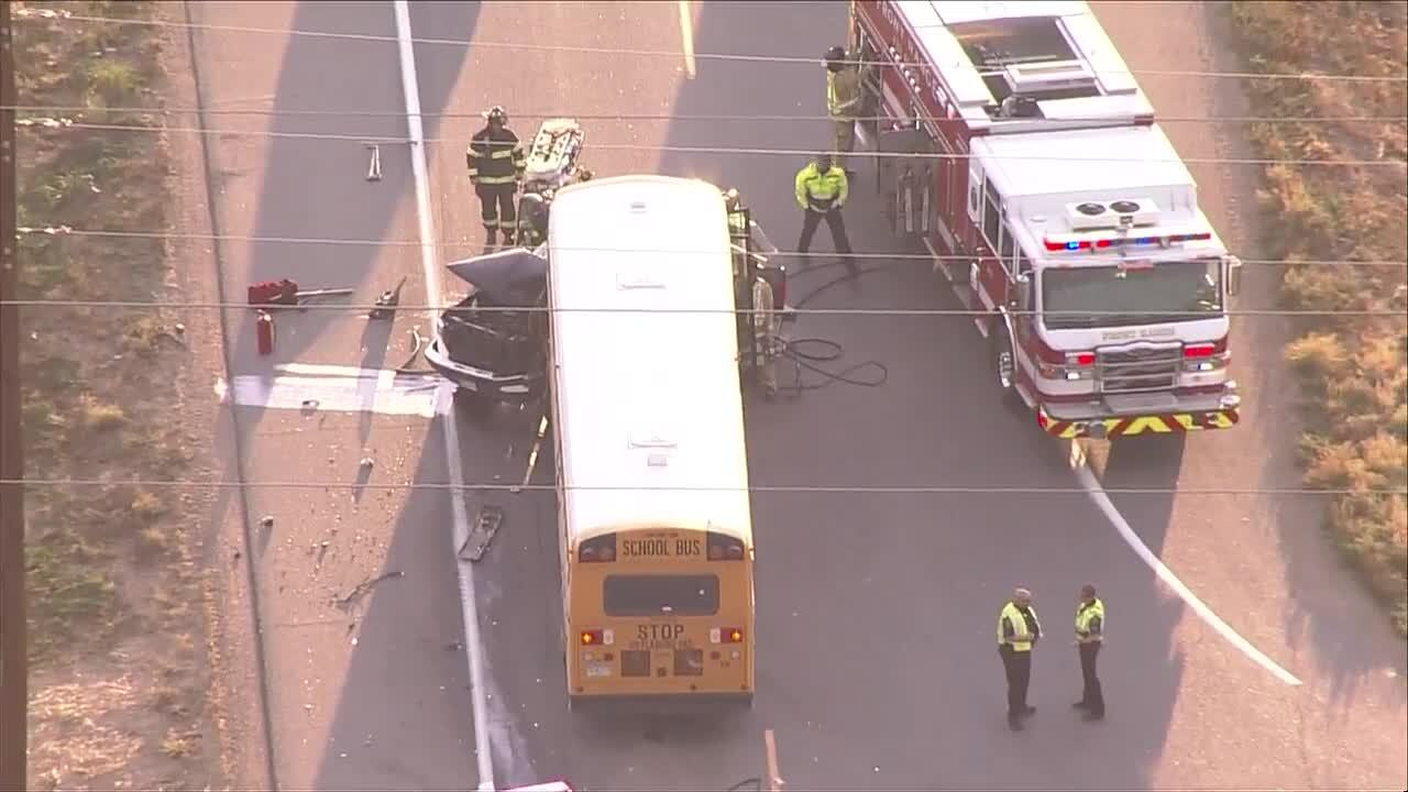 School bus vs car crash Oct 7 2021 in Johnstown