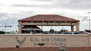 The main gate at MacDill Air Force Base Friday, Jan. 13, 2017, in Tampa, Fla.  (AP Photo/Chris O'Meara)