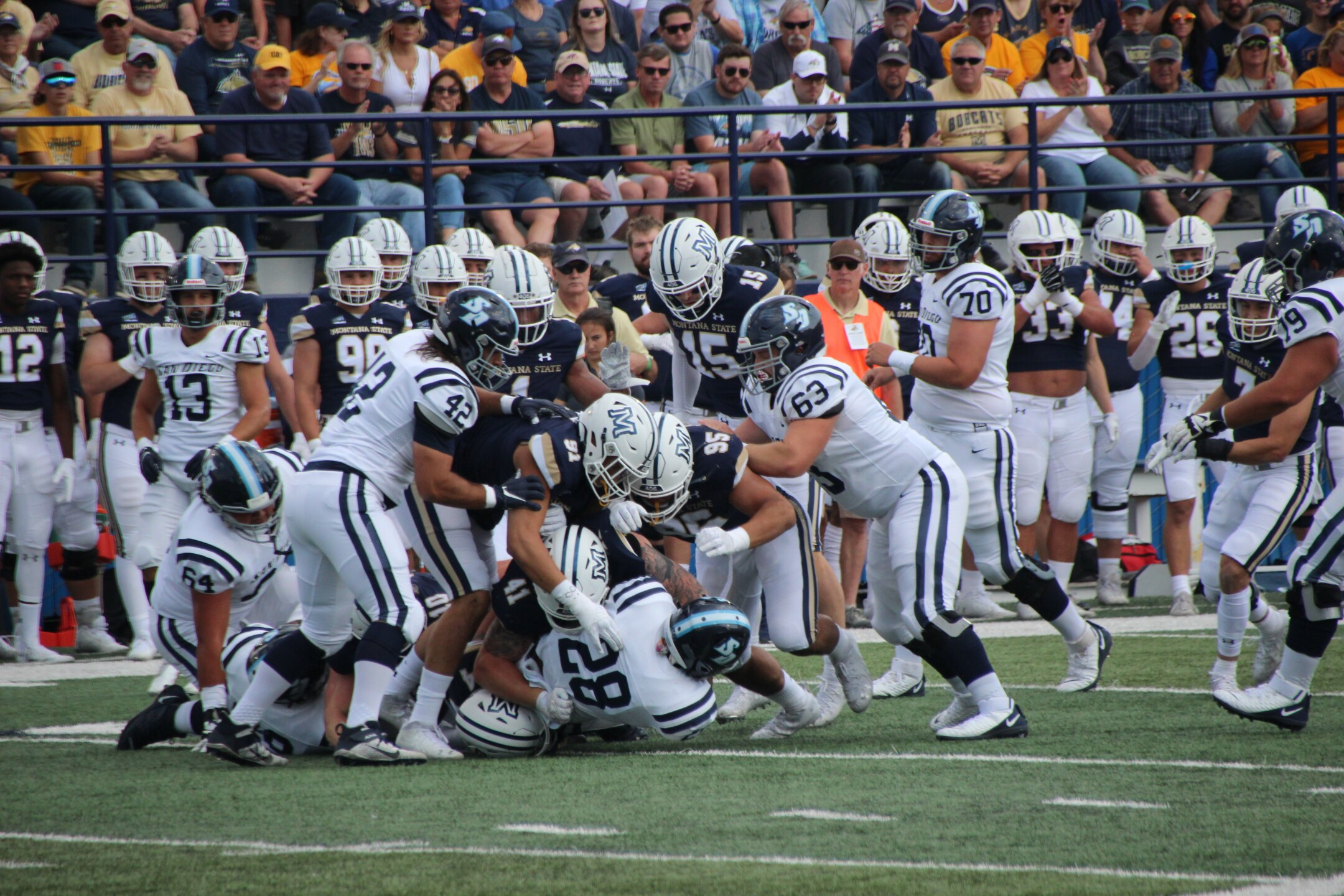 Montana State's defense swarms for a tackle