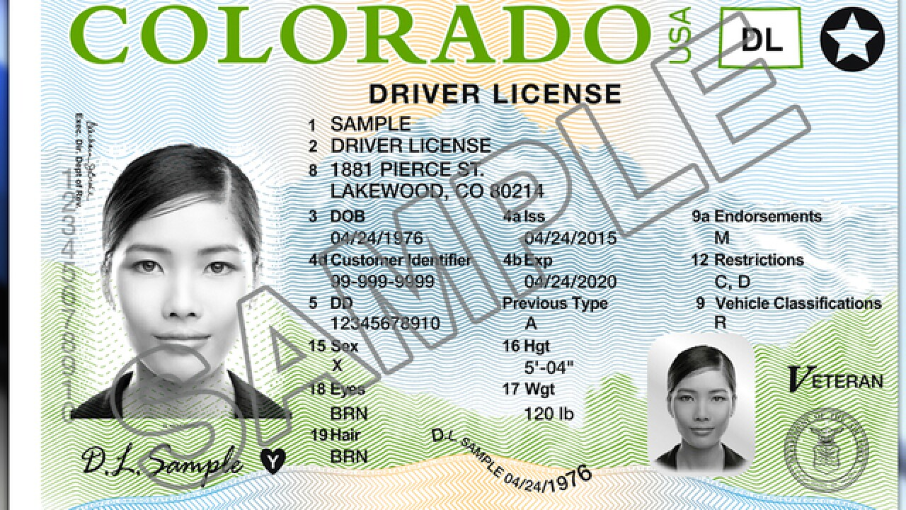 Colorado adding non-binary sex option to driver's licenses