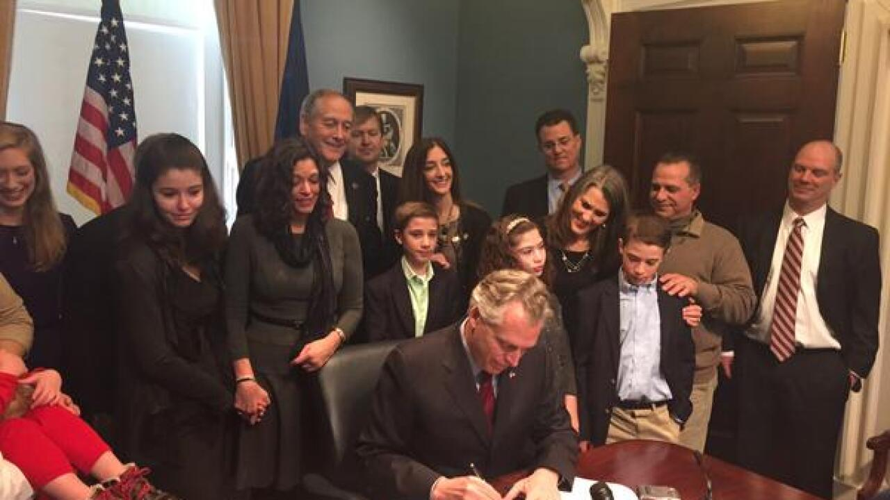 Governor McAuliffe signs bill allowing cannabis oils to treat epilepsy