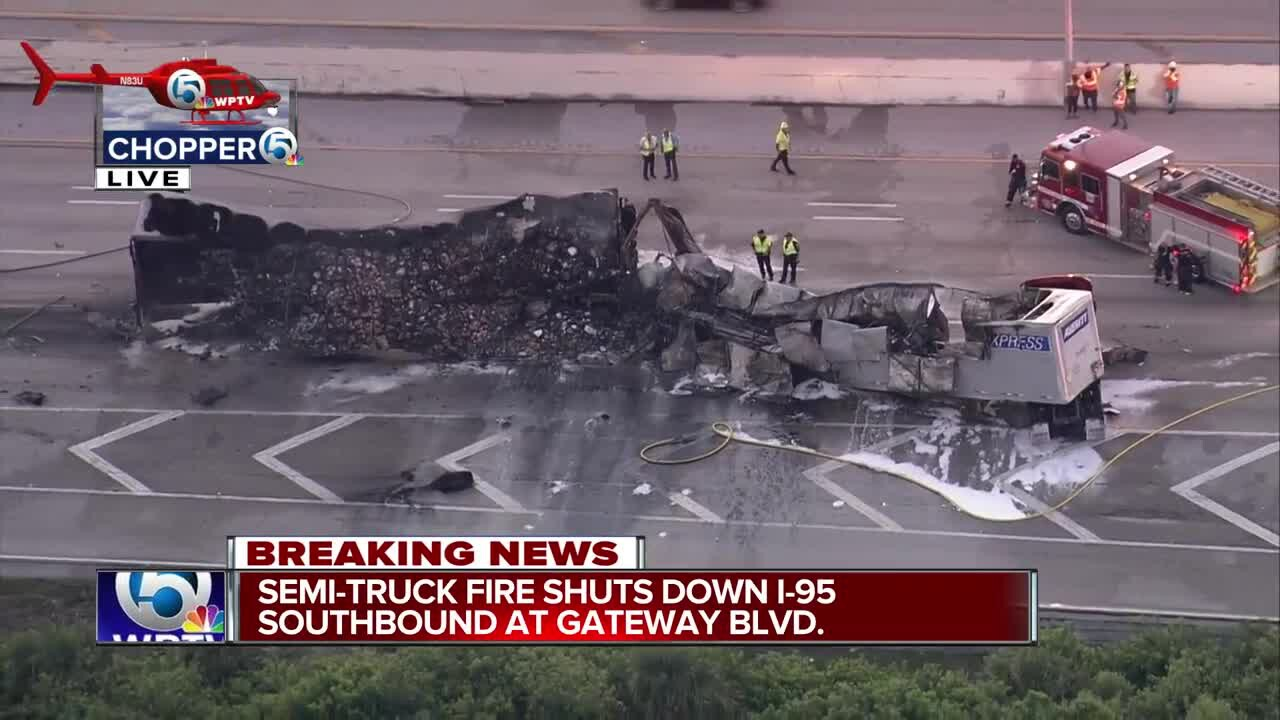 Two tractor-trailers caught fire May 30, 2019, closing all lanes of Interstate 95 southbound near the Gateway Boulevard exit in Boynton Beach.