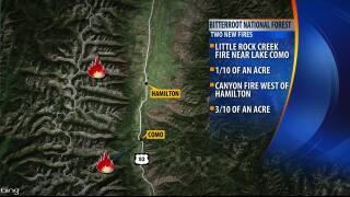 Crews battle small wildfires in the Bitterroot National Forest