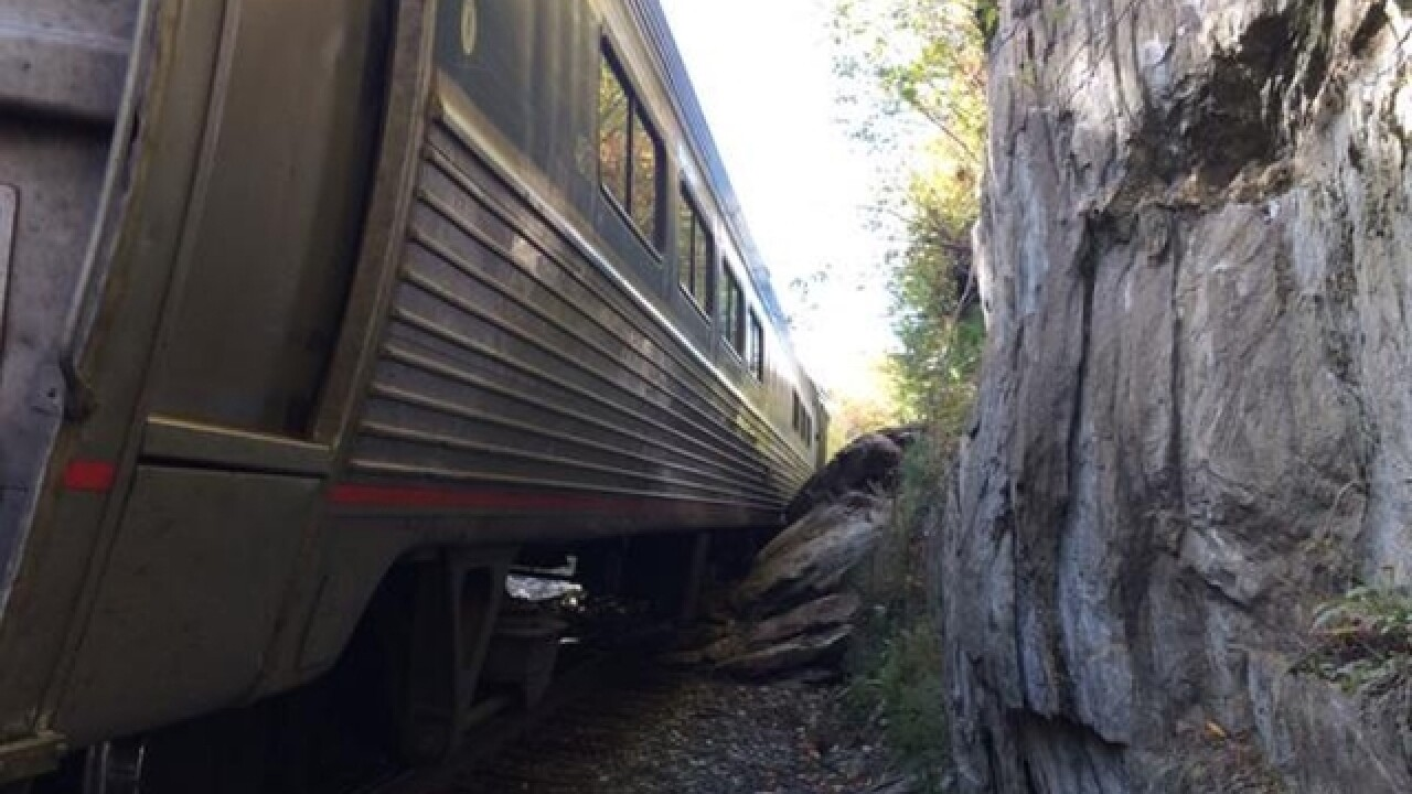 Train derails in Vermont after striking rocks