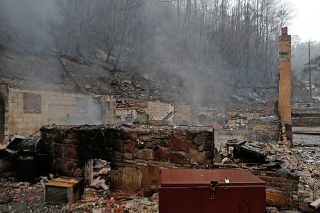 Wildfire aftermath in Gatlinburg, Tennessee
