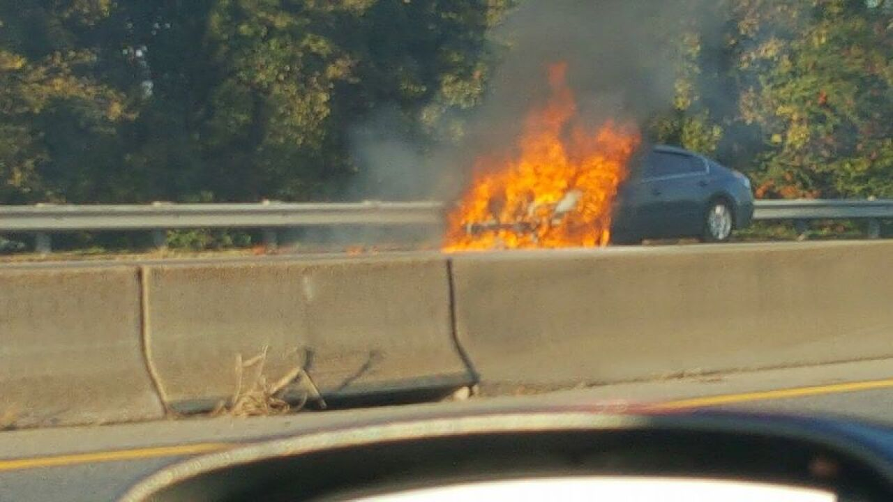 Vehicle fire caused backups I-64 West in Hampton