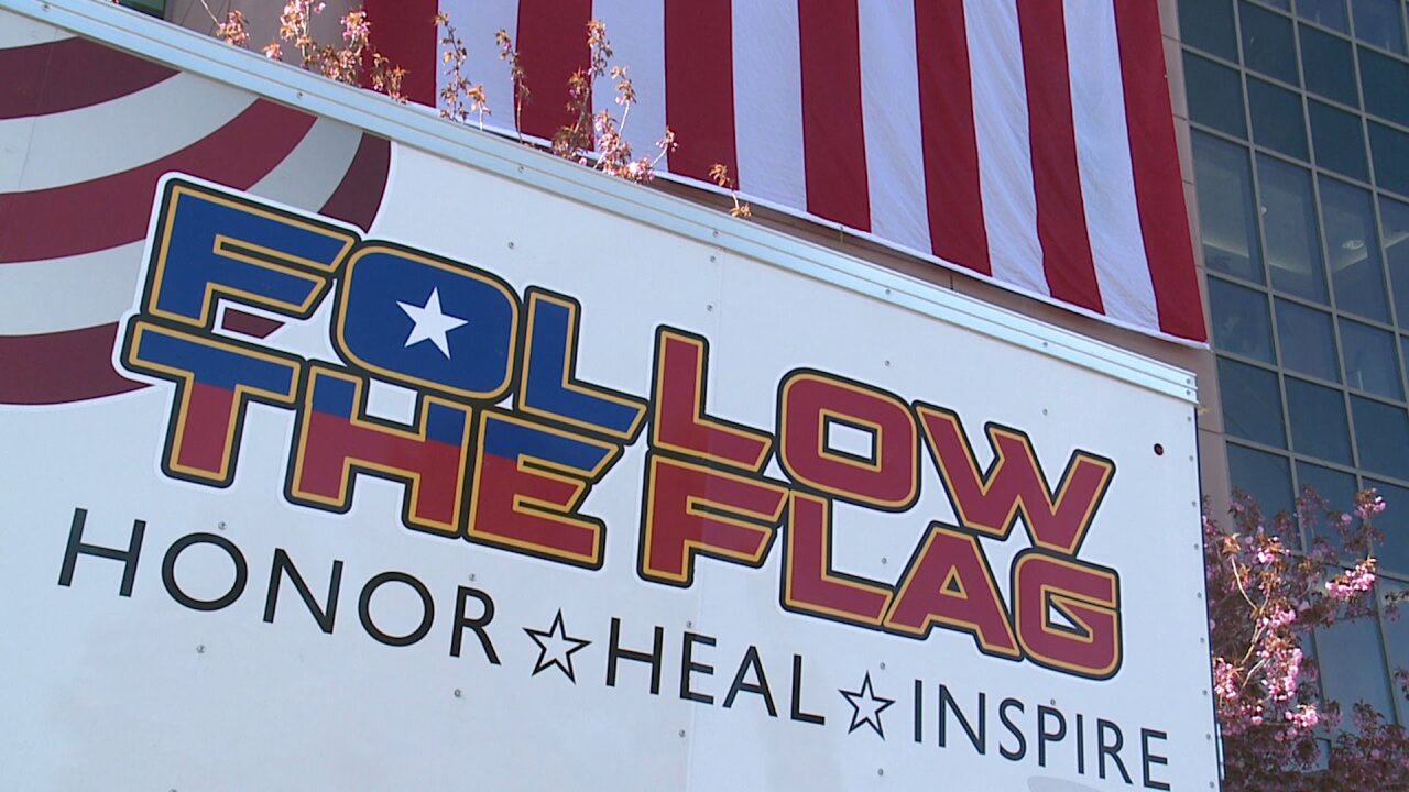 'Follow the Flag' group drapes giant American flag outside Utah hospital