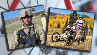 Paralyzed Golden veteran keeps up with family on trails with specialized mountain bike