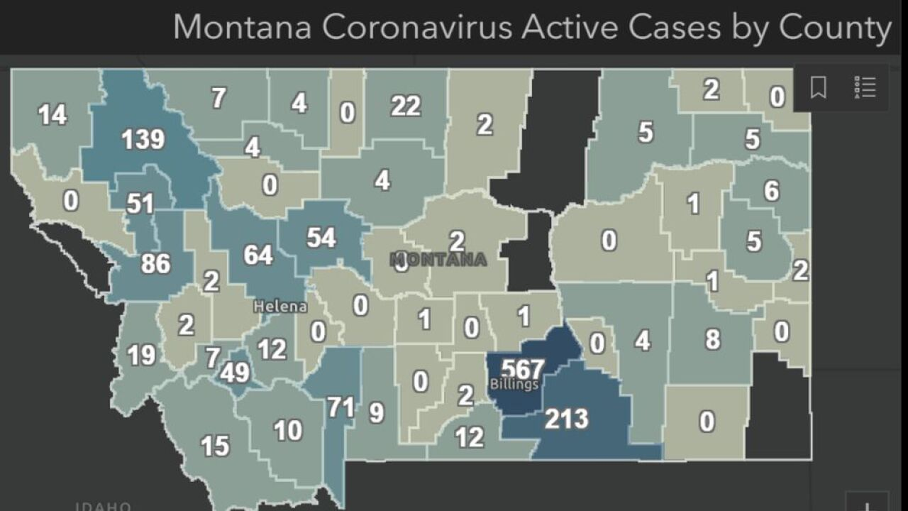 Active COVID-19 cases in Montana as of August 4