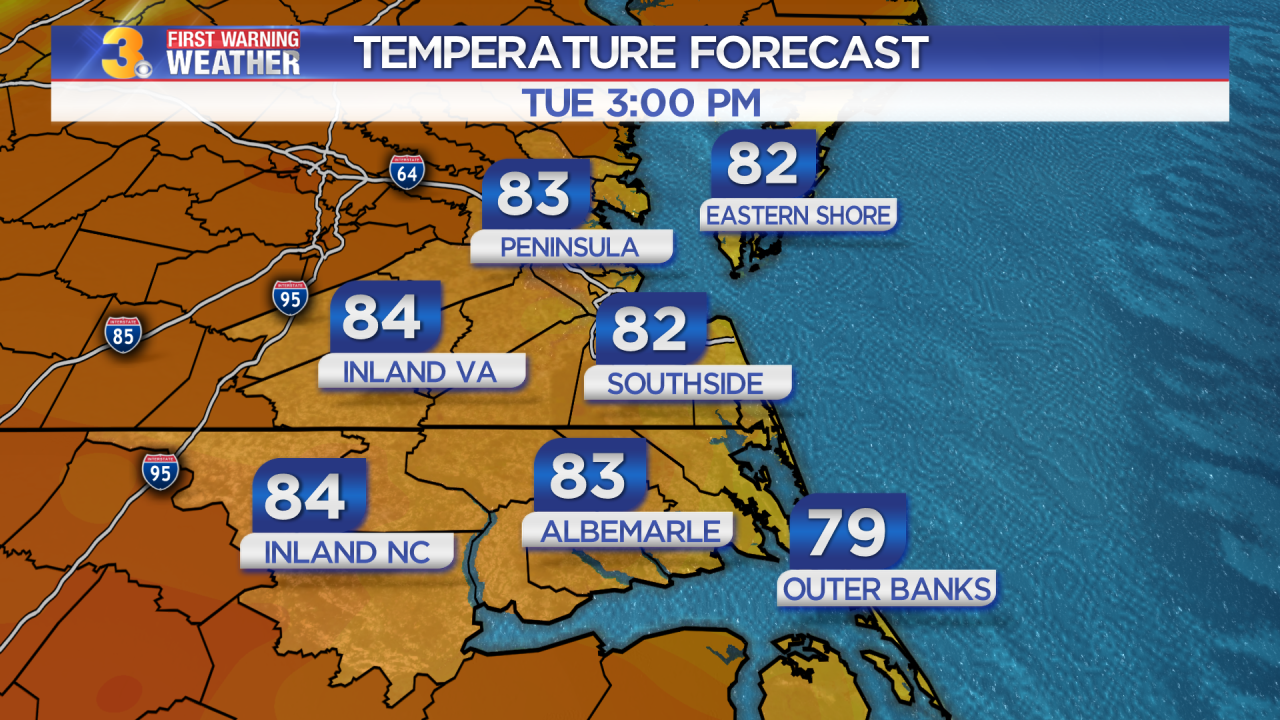 Tuesday's First Warning Forecast: A return to sunshine, cooler and less humid