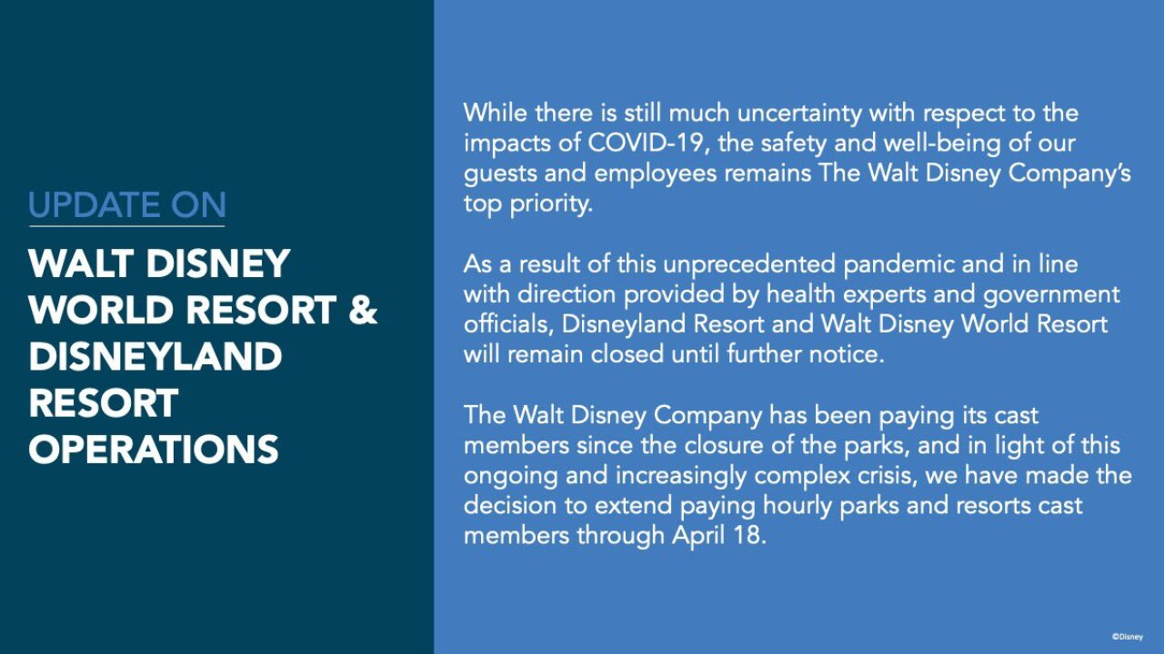 Walt Disney World, Disneyland closed indefinitely amid COVID-19 pandemic
