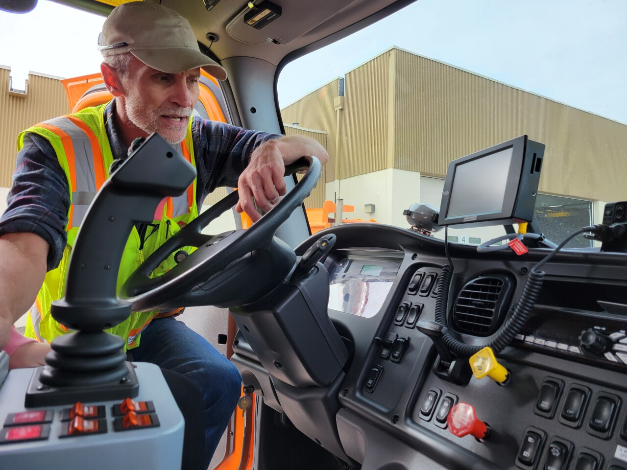 Kevin Peffer showing off the capabilities of MDT's snowplows