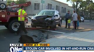Stolen car involved in hit-and-run crash