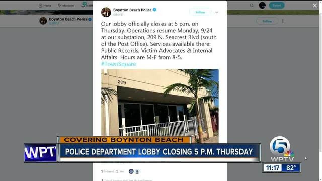 Boynton Beach Police Department lobby closing Thursday