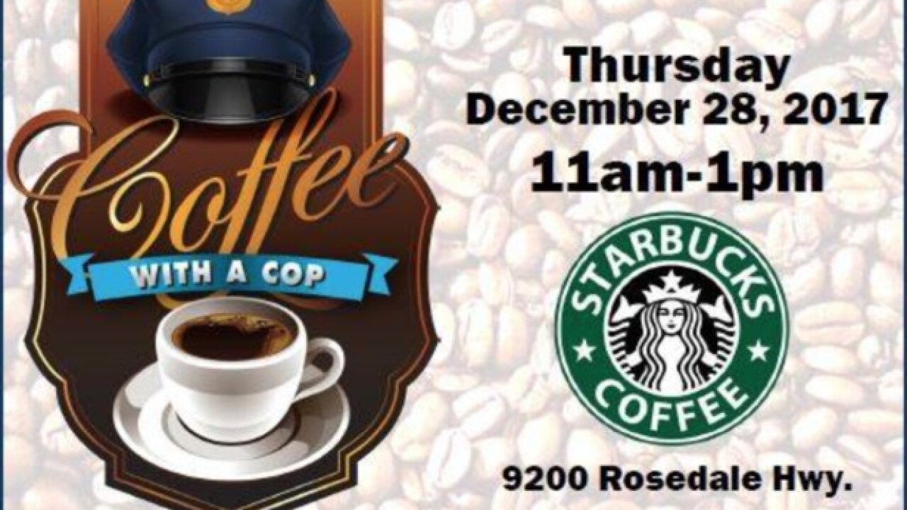 Bakersfield Police Department officers host coffee with a cop