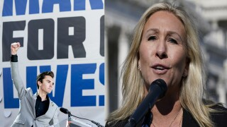 David Hogg behind March for Our Lives sign and Marjorie Taylor Greene outside U.S. Capitol