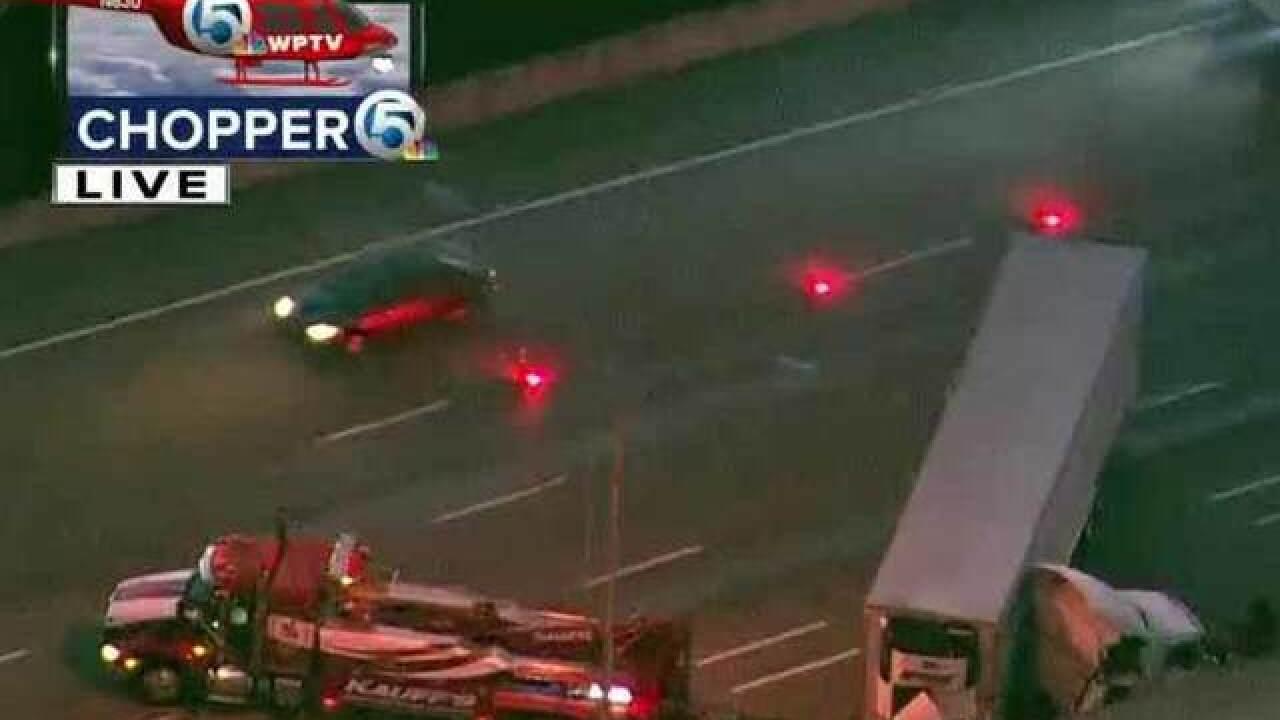 Semi crash on I-95 northbound near PGA Boulevard exit in Palm Beach Gardens