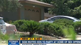 Sign invites kids to party at sex offender's home