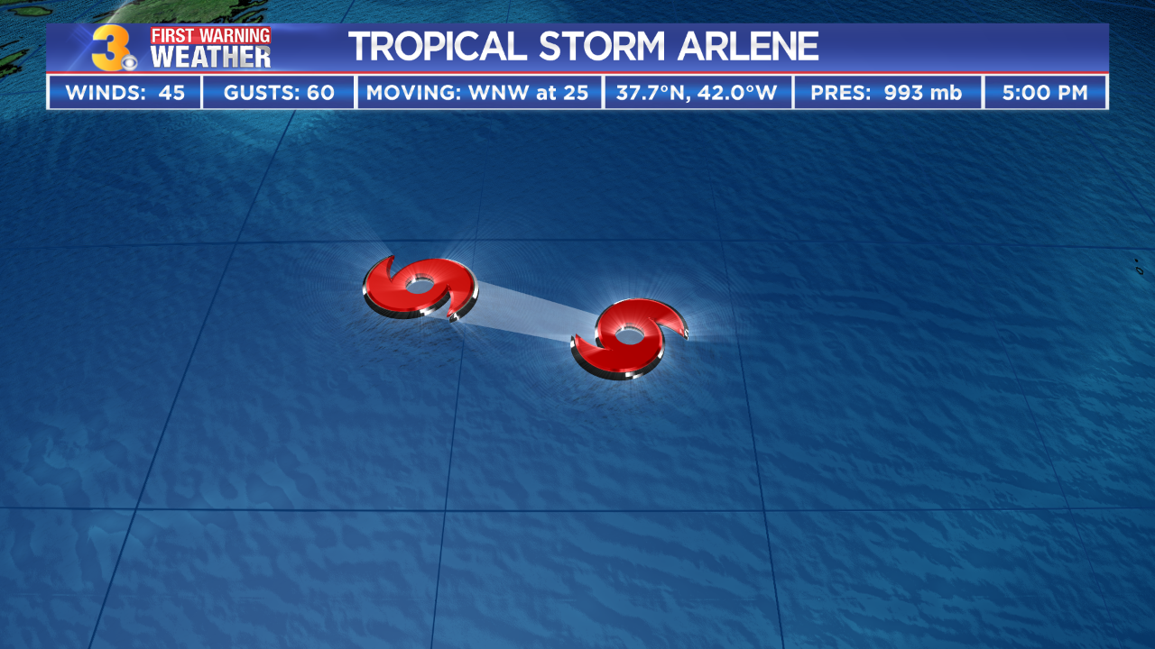 Tropical Depression One strengthens into Tropical Storm Arlene in the central Atlantic