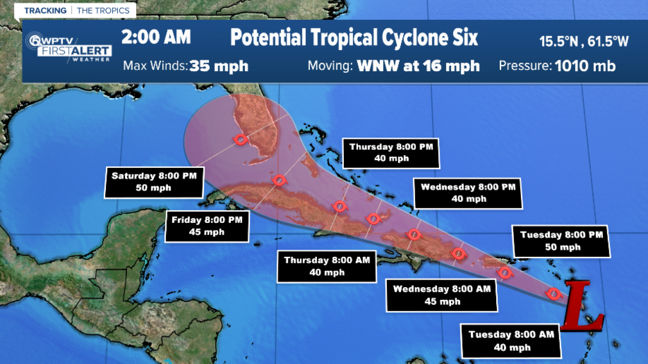 Potential Tropical Cyclone Six, 2 a.m. Aug. 10