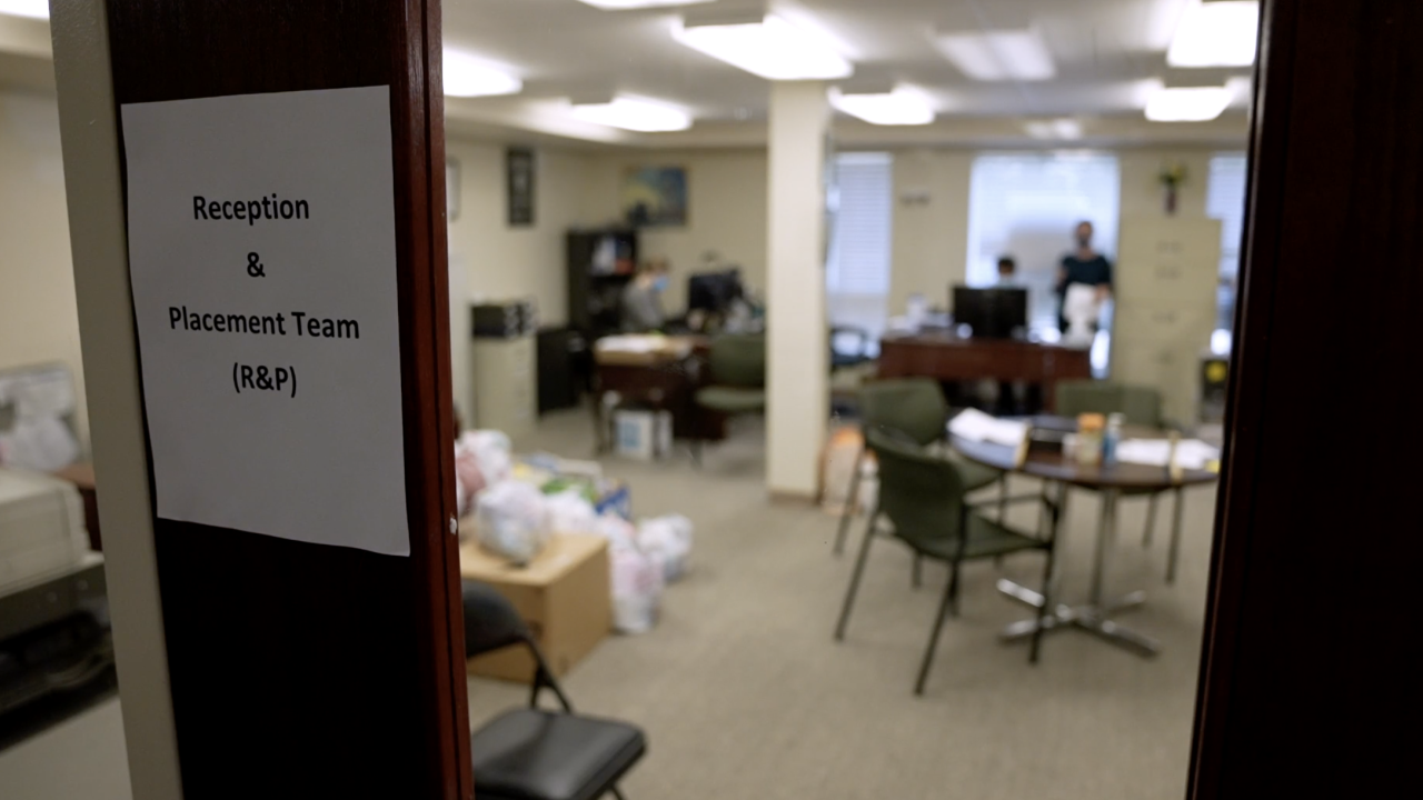 Inside the basement of Bethlehem Lutheran Church in Fairfax, Virginia, a small staff for Lutheran Social Services National Capital Area works to process the needs for hundreds of government-vetted, incoming Afghan refugees.