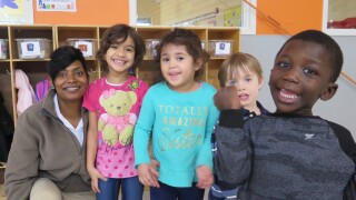 Angel Kennedy and Head Start students